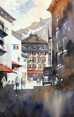 Chamonix Watercolour demo by Iain Stewart