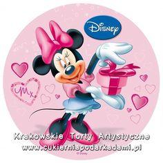 092. Rózowy fototort z Myszką Minnie. Pink photocake with Minnie Mouse.
