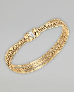 Gold Bedeg Diamond-Clasp Bracelet by John Hardy at Neiman Marcus. Gold Temple Jewellery, Gold Rings Jewelry, Gold Jewelry Simple, Pendant Jewelry, Diamond Jewelry, Gold Bracelets, Gold Pendant, Fine Jewelry, Diamond Jhumkas