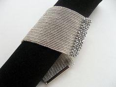 Herringbone bracelet - Beadwork bracelet - Seed bead bracelet - Ringa -Feminine - birthday gift - argent - High Fashion