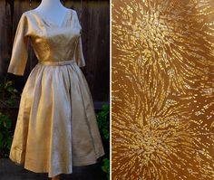 1950's Vintage Golden Satin Party Dress with Metallic Bursts & Matching Belt