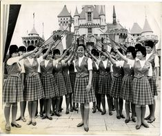 """Royal Send-off for Disneyland Senior Hostess Donna Jackson...tour guides salute Grove girl before she leaves for Copenhagen, Denmark and ""exchange"" job at Tivoli Gardens Park."" Early 1960s     matterhorn1959.blogspot.com"