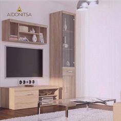 Σύνθεση TV 3 τεμαχίων. Έπιπλο TV 134x45x39 με 1 ντουλάπι, Ράφι τοίχου κρεμαστό 110x22.5x39.5, Βιτρίνα με τζάμι 50.5x35x203 με 2 ντουλάπια και 1 συρτάρι. Η συνολική διάσταση της σύνθεσης υπολογίζεται κατά επιλογή ανάλογα με τις ανάγκες του χώρου σας και την προτίμησή σας. Από την Alphab2b.gr Flat Screen, Living Room, Furniture, Home Decor, Blood Plasma, Decoration Home, Room Decor, Flatscreen, Home Living Room
