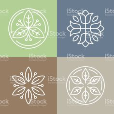 Vector floral icons and logos royalty-free stock vector art