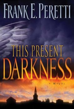 This Present Darkness and Piercing the Darkness; both Christian books by Frank Peretti about constant spiritual warfare. You'll never think about angels and demons in the same way.