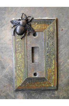 Hand Made VTG like Metal Patina Switch Plate Bee