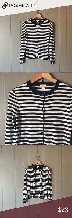 J. Crew Navy & White Striped Caryn Cardigan Classy and preppy - This fitted sweater Cardigan is in excellent used condition! Lightweight. Offers are always welcome. J. Crew Sweaters Cardigans