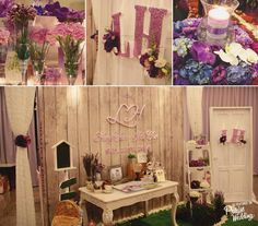 So in love with this romantic purple themed country style wedding decor!  Designer: Shellisa Wedding