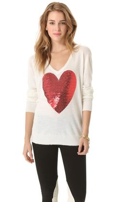 buy the exact wildfox sequin heart sweater worn on the mindy project