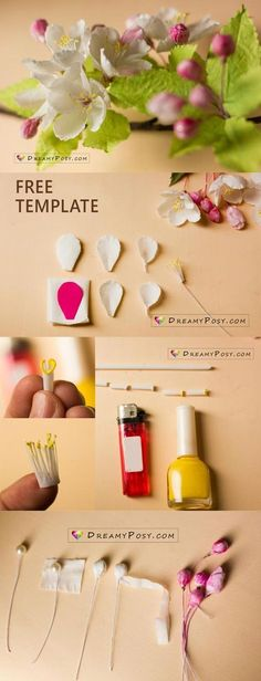 How to make paper apple blossom from facial tissue, FREE template These paper apple blossoms are made from facial tissue and drinking straws. Tissue Paper Flowers, Paper Flower Backdrop, Clay Flowers, Fabric Flowers, Diy Hacks, Paper Flower Tutorial, Paper Crafts For Kids, Tape Crafts, Flower Template