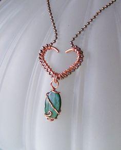 OOAK Art Pendant Necklace   Copper Wire Wrapped Heart by deleas, $27.00