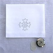 church items Altar Linens sells liturgical linens handmade by Lynn Smith. Products include communion veils, amice, purificators, and many other fine church linens. Lynn Smith, Catholic Altar, Altar Cloth, Latin Words, Communion, Linens, Meant To Be, Embroidery, Veils