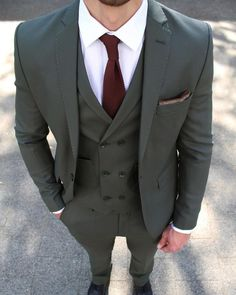 Dark Green 3 Piece Suit – Conquer Menswear Included are: Jacket Vest Trousers Lapel pin gift Cut: Slim FitStyle: Single BreastedFabric: Polyester & Viscose Men's Suits, Suits Usa, Cool Suits, Grey Suit Men, Black Suits, Dark Green Suit Men, Three Piece Suit, 3 Piece Suits, Mens Fashion Suits