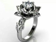 Diamond lotus engagement ring
