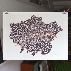Items similar to Typographic Map of London Boroughs by Ursula Hitz on Etsy London Boroughs, Newham, Map Projects, Unusual Presents, Kensington And Chelsea, London Map, Map Globe, City Maps, Deco Design