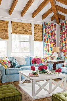 Colorful but subtle beach house style living room