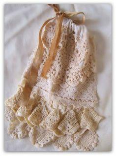 Lacy crocheted Irish Ditty Bag