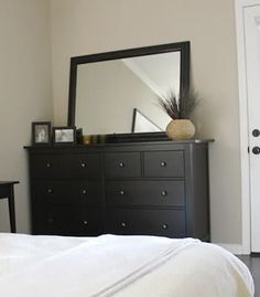 Hemnes dresser from IKEA. Thinking dark dresser with white nightstands