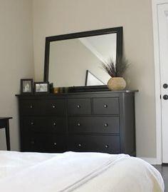 Hemnes dresser from IKEA. Thinking dark dresser with white nightstands