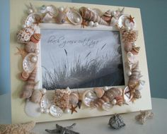 Beach Decor Seashell Frame  Shell Frame w by beachgrasscottage, $50.00