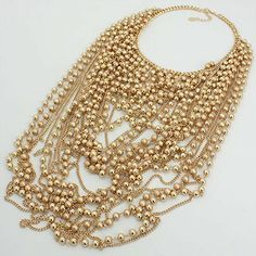 Oversized Draped Pearl Glam Necklace 228958