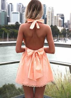 Light Orange Halter Dress with Open Back Bow Detail,  Dress, halter dress  party dress, Chic