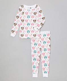 Another great find on #zulily! White Owls Pajama Set - Infant & Toddler by Vitamins Baby #zulilyfinds