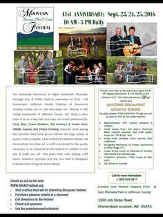 Bluegrass bands, arts and crafts festival, WV Wines, craft beer, kids activities, and more!