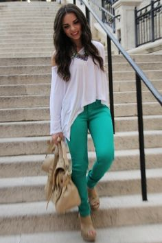 Love the look: Green jeans (JC Penney), tan bag (Mimi Boutique), tan wedges (Xiomara Lisette), and a white top (Express).