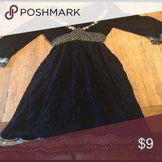 Maurices black dress Soft stretchy black 3/4 length sleeve dress with beautiful ivory detailing. Stretchy empire waist. Euc. Pet free smoke free. Maurices Dresses Midi