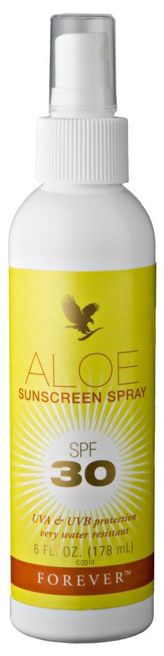 Forever Living - Aloe Sunscreen Spray. Protection at the push of a button!  All the benefits you would expect - 30 SPF protection and aloe vera to protect your skin against the sun and wind, plus the added benefit of water resistance to allow you to splash and swim without worry. http://www.beforeverfree.myforever.biz/store