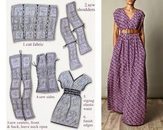 Dress easy to do, It& just 4 rectangles - Stéphanie - - Robe facile à faire, C'est juste 4 rectangles hukoms ⚜️⚜️ 4 Rectangles Maxi Dress - Sewing Projects For Beginners, Sewing Tutorials, Sewing Tips, Sewing Hacks, Maxi Dress Tutorials, Sewing Ideas, Easy Projects, Diy Clothing, Sewing Clothes