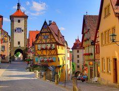 Scenic Village, Rothenburg, Germany  (When I was there I was told the story that Rothenburg was one of the few cities NOT bombed during WWII. It remains much as it would have hundreds of years ago and is surrounded by a rock wall.)