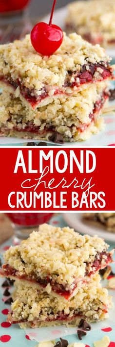 No Bake: Almond Chocolate Cherry Pie Bars - Crazy for Crust...