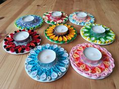 Quilled tealight candle holders. Done by me.