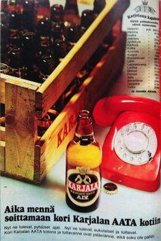 Karjalaa, 70-luku Beer Poster, Old Commercials, Good Old Times, Old Ads, Vintage Ads, Finland, Nostalgia, Alcohol, Advertising