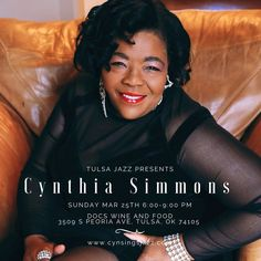 Tulsa Jazz.Com Presents Cynthia Simmons and Scott McQuade Sunday Mar 25th, 2018 at Docs Wine and Food!   Tulsa Jazz