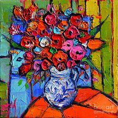 Abstract Flower Painting - Floral Miniature - Abstract 0715 - Colorful Bouquet by Mona Edulesco Palette Knife Painting, Abstract Photography, Oil Painting On Canvas, Painting Art, Fractal Art, Flower Art, Fine Art America, Original Paintings, Drawings