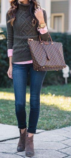 #thanksgiving #fashion · Green Turtleneck Sweater // Pink Shirt // Skinny Jeans // Brown Booties