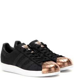 Adidas Originals - Superstar 80s leather sneakers - Adidas brings back the iconic Superstar sneaker for the new season; this pair is updated with a tough-luxe, rose gold-hued metal toe that's designed in the label's classic shell style. They'll effortlessly elevate a casual daytime edit. seen @ www.mytheresa.com