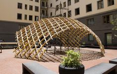 Toledo 2 Gridshell Naples, Faculty of Architecture countryard, Parametric Architecture, Pavilion Architecture, Wood Architecture, Parametric Design, Shell Structure, Bamboo Structure, Timber Structure, Landscape Structure, Bamboo Building