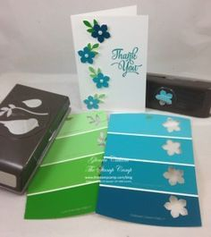 Paint Chip Punch Art - The Stamp Camp You are in the right place about Paint Chip Cards, Paint Sample Cards, Paint Samples, Card Making Tips, Making Ideas, Tarjetas Diy, Karten Diy, Card Tutorials, Flower Cards