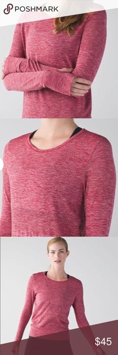 Lululemon size large breeze by long sleeve top Lululemon breeze by long sleeve top in heathered red in size large. Shirt features thumb holes and unique cut out circle / stripe print - excellent used condition with no holes, rips, stains, or other noticeable wear. 21' CHEST, 21' WAIST, 26' LENGTH lululemon athletica Tops Tees - Long Sleeve
