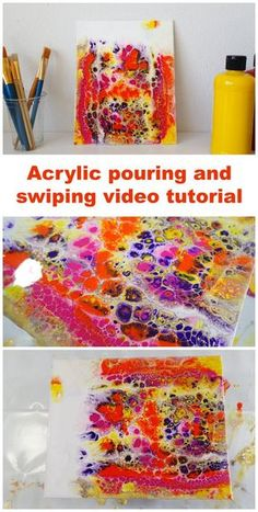 Video tutorial, how to pour and swipe this colorful painting using acrylic paints (Pour Art) Acrylic Pouring Techniques, Acrylic Pouring Art, Acrylic Art, Acrylic Painting Techniques, Art Techniques, Creation Image, Art Du Monde, Pour Painting, Flow Painting