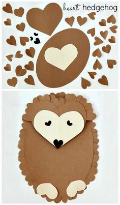 Valentine's Day Hedgehog Craft Activiy: 6 Heart Shaped Animals with FREE printable PDF's ~ Heart Shaped Hedgehog Valentine crafts for kids Valentine Crafts For Kids, Valentines Day Activities, Craft Activities, Preschool Crafts, Holiday Crafts, Kids Crafts, Diy And Crafts, Craft Projects, Paper Crafts