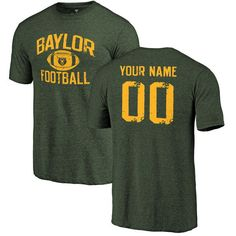 5323e226d4c Baylor Bears Personalized Distressed Football Tri-Blend T-Shirt - Green