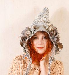 Woman pixie hat Gnome hat blue Crochet hat blue Hobbit hat Knit hat blue Crochet hat woman Fairytale hat crochet Wool hat blue Woman hat