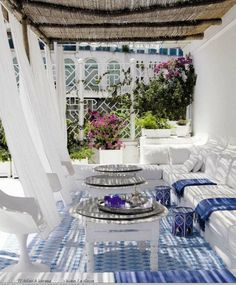 Francine Gardner - Art de Vivre: A summer in IBIZA love the curtains, the banquette and the bamboo shade!