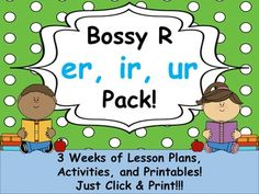 3 Weeks of Literacy Block Lesson Plans and Activities! The complete lessons are rigorous, reflect best practices, and are perfect for your observation or to introduce/review r-controlled vowels er, ir, and ur (bossy r). Includes formative assessments, word searches, abc order, word scrambles, bossy r word sort, er, ir, ur word sort, word families activities, weekly spelling words, lesson plans, and flashcards!