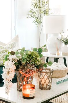 Delicious Smelling Fall Candles - A Blissful Nest Autumn Decorating, Porch Decorating, Decorating Ideas, Decor Ideas, Fall Living Room, Living Room Colors, Autumn Display, Glass Pumpkins, Fall Scents